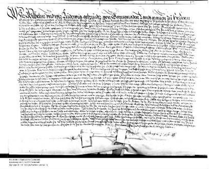 Landgraf Wilhelm IV. von Hessen-Kassel und Landgraf Ludwig IV. von Hessen-Marburg bekunden, dass sie sich wegen der im Testament Landgraf Philipps...