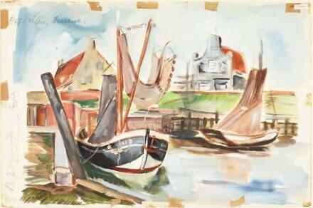 Recto: Rheinufer bei Kaiserswerth / Pappeln. Verso: Hafen in Holland