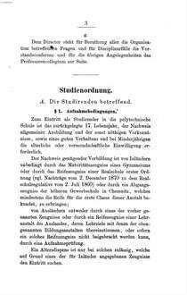 Studienordnung, Disciplinargesetze und Hausordung der Königl. polytechnischen Schule zu Dresden : Dresden, am 18. Februar 1871