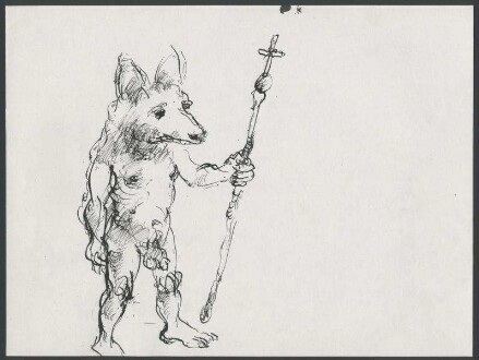 Reineke Fuchs als Pilger. Unveröffentlichte Zeichnung