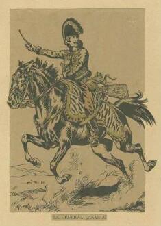 Stab Kaiser Napoleons I.: General Lasalle in grosser Uniform und Mütze, zu Pferd, Vorderansicht