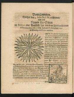 Vom Cometen. Welcher den 3. Febr. Styl. N. erschienen/ und vom Neuen Fix-Stern im Balena oder Wallfisch/ der von dem Weltberühmten Astronomo, (tit.) Hn. Johan Hewelcken/ &c. zu Dantzig observiret worden.