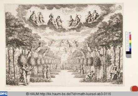 Bühnenbild zu 'La monarchia latina trionfante, 7. Bild: Elysäische Gefilde