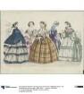 Allgemeine Modenzeitung: fünf Damen in eleganten Tages- und Abendkleidern: Promenaden-, Ball-, Besuchs- und Haustoiletten
