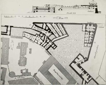 Dresden. Befestigungsanlagen der Brühlschen Terrasse bis zur Hasenbastei (mit Büchners neuer Bastei und Lusthaus)