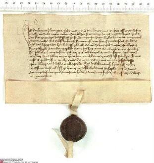 Karl von Thüngen bekundet für sich und seine Erben, dass er von Hermann [von Buchenau], Abt von Fulda, 2000 Gulden für den Verkauf der Burg Steina...
