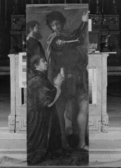 Auferstehung Christi mit Verkündigung und Heiligen — linke untere Tafel: der Stifter Altobello Averoldi mit den Heiligen Nazaro und Celso