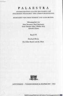 ˜Derœ frühe Brecht und die Bibel : Studien zum Augsburger Religionsunterricht und zu den literarischen Versuchen des Gymnasiasten