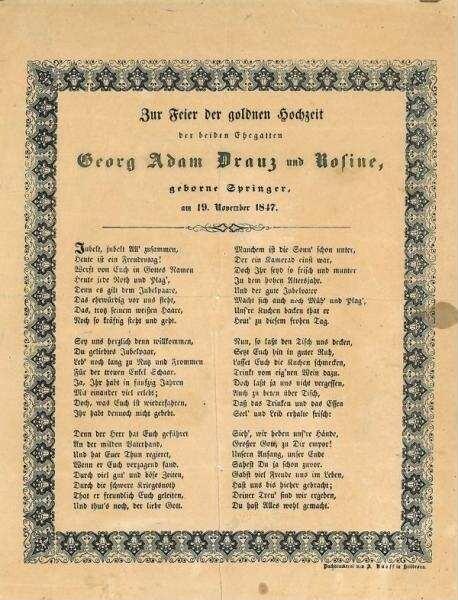 Gedicht Zur Feier Der Goldenen Hochzeit Von Georg Adam