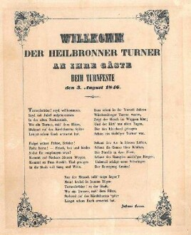 """Gedicht von Justinus Kerner: """"Willkomm der Heilbronner Turner an ihre Gäste beim Turnfeste den 3. August 1846"""""""