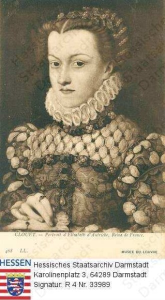 Elisabeth Königin v. Frankreich geb. Prinzessin v. Österreich (1554-1592) / Porträt, Brustbild