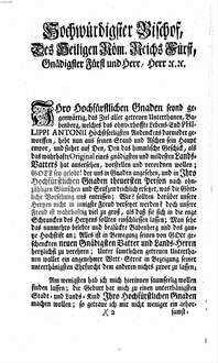 Semper Vivum. Sive Immortalis Aggratulatio Metrica Quando ... Dominus Franciscus Conradus, S.R.I. Comes à Stadion ... In Episcopum Bambergensem ... Eligebatur