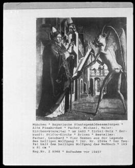 Kirchenväteraltar — Vier Szenen aus der Legende des heiligen Wolfgang — Der Teufel hält dem heiligen Wolfgang das Meßbuch