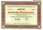 Aktie über 20 RM der KAISER-OTTO AG Nr. 3585 mit Erneuerungsschein und 10 Gewinnanteilscheinen