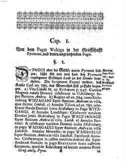 Christiani Vlrici Grvpen Origines Pyrmontanae et Swalenbergicae : worinnen die Alterthümer von Pyrmont und der dortigen Gegend, auch des Pagi Wettago ... erläutert werden