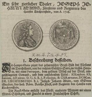 Bildnis von Joseph Johann Adam, Fürst zu Liechtenstein