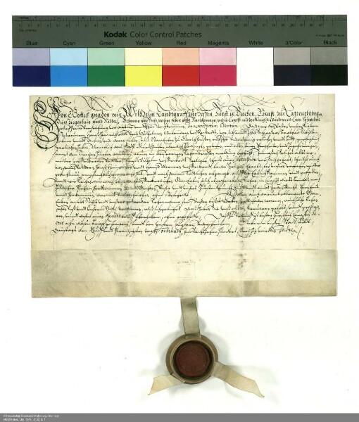 Lehenbrief Wilhelms [V.], Landgraf von Hessen [Hessen-Kassel], für Hans Heinrich und Veit Willhelm von Reckrod über das Dorf Gerthausen