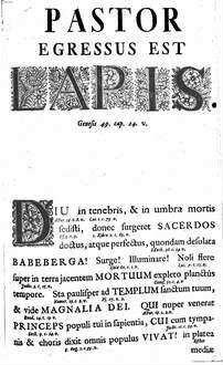 Pastor Egressus Est Lapis : Quando ... Dominus D. Joannes Philippus Antonius ... In Fano Babebergae ... Episcopus Ungebatur