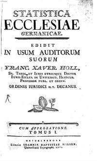 Statistica ecclesiae Germanicae : Tomus I.