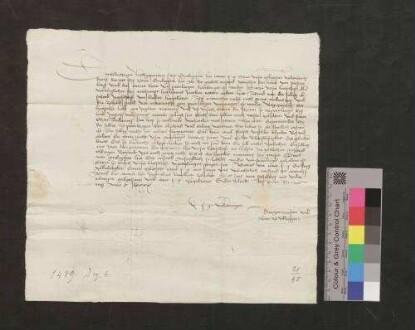 Bürgermeister und Rat der Stadt Villingen schreiben dem Erzherzog Sigmund von Österreich von dem gütlichen Anstand zwischen den Herren von Fürstenberg und den armen Leuten zu Bräunlingen.