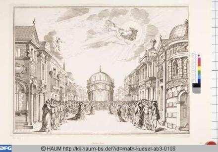 Bühnenbild zu der Oper 'Il fuoco eterno', 12. Bild: Palast und Vestatempel