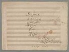Symphonies, orch, KV 45a, G-Dur - BSB Mus.ms. 13467 : [title page, b, on the right:] G [centre:] Sinfonia // à 2 Violinj // 2 Hautbois // 2 Cornj // Viola // et // Basso // [on the right:] di Wolfgango // Mozart di Salisburgo // à la Haye 1766