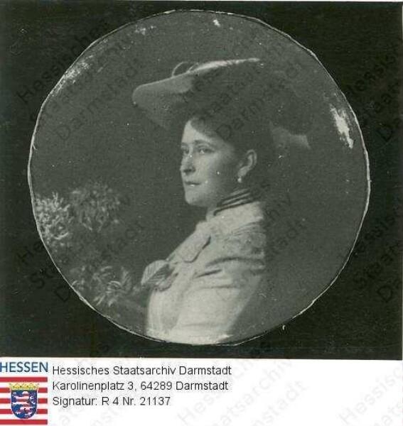 Jelissaweta Fjodorowna Großfürstin v. Russland geb. Prinzessin Elisabeth (Ella) v. Hessen und bei Rhein (1864-1918) / Porträt, linkes Profil-Brustbild in Medaillon