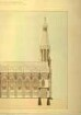 Entwurf für eine fiktive Katholische Kirche, Ansicht und                                Querschnitt der Nordseite mit Maßwerkfenstern, Kirchturm und                                Fiale