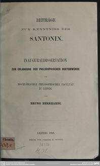 Beiträge zur Kenntniss des Santonin