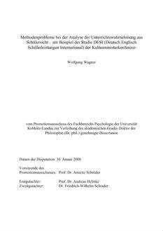 Methodenprobleme Bei Der Analyse Der Unterrichtswahrnehmung Aus