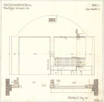 Fischer, Theodor; Interimskirche - Wand gegen die Empore (Grundriss, Ansicht m. Schnitt)