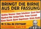 """Aktion für mehr Demokratie, [Bundestagswahl 1987 ] """"Bringt die Birne aus der Fassung Solidarität statt Ellenbogen Großveranstaltung der Aktion für mehr Demokratie"""" Herausgeber: Aktion für mehr Demokratie, Stuttgart-Heidelberg"""