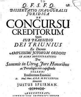 Dissertatio inauguralis iuridica de concursu creditorum
