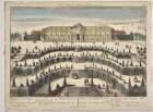 Guckkastenbild: Schloss Sanssouci von Süden aus der Vogelschau