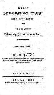 Neues staatsbürgerliches Magazin mit besonderer Rücksicht auf die Herzogthümer Schleswig, Holstein und Lauenburg. 2, 2. 1834
