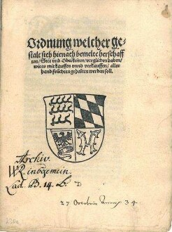 Fruchtkaufordnung von Herzog Ulrich für das Herzogtum und einige Reichsstädte, (darunter Heilbronn)