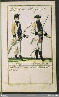 Infanterie Regiment. Chef. Ihro Durchl: Prinz Anton.  Commendant. Obr. v. Nitzschwitz
