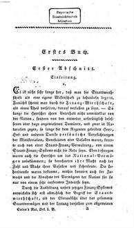 ˜Dieœ National-Oekonomie : ein philosophischer Versuch über die Quellen des National-Reichthums, und über die Mittel zu dessen Beförderung. 1. (1815). - XII, 288 S.