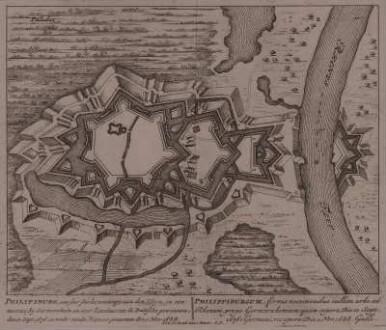 Festungsplan von Philippsburg, 1:8 000, Kupferstich, um 1710