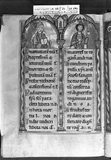 Psalterium (sogenannter Landgrafenpsalter) — Litaneiseite, unter den Bögen das Landgrafenpaar von Thüringen, Folio 174verso
