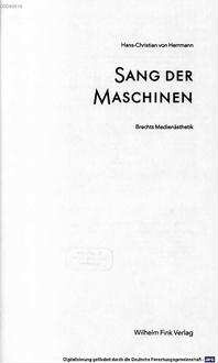 Sang der Maschinen : Brechts Medienästhetik