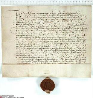 Philipp von Eberstein, Amtmann von Steinau (Steina), bekundet, dass er von Hartmann [Burggraf von Kirchberg], Abt von Fulda, und von Johann [von H...