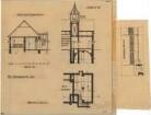 Fischer, Theodor; München - Laim; Interimskirche - Grundriss Keller, Schnitt; Sängerempore (Schnitt); Einfriedung - Holzzaun (Grundriss, Ansicht)