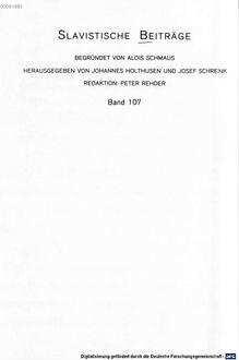 ˜Dieœ ältesten tschechischen Evangeliare : Edition, Text- und Sprachanalyse der ersten Redaktion
