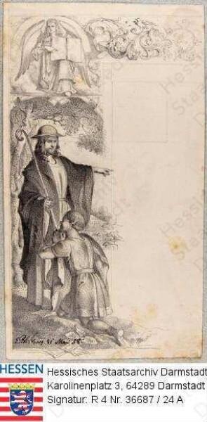 Preuschen, Erwin Franz (1823-1868) / Matthäus-Evangelium: oben links: Evangelist Matthäus mit aufgeschlagenem Buch, darunter Darstellung von Jesus als guter Hirte