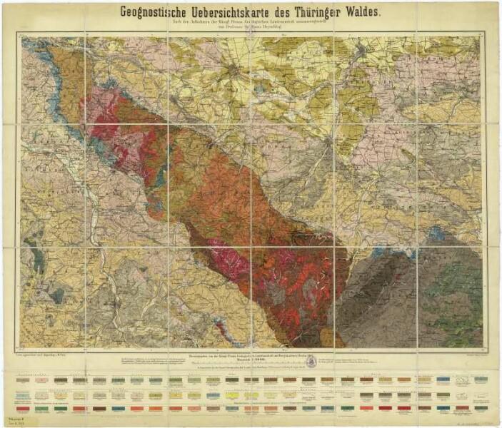 Geologische Karte Thüringen.Geognostische Karte Des Thüringer Waldes 1 100 000 Lithographie