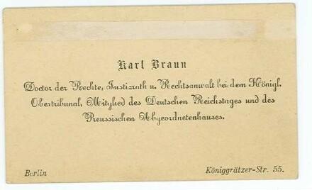 Visitenkarte von Karl Braun