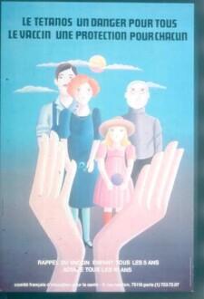 Plakat. Tetanus - eine Gefahr für alle. Impfung - ein Schutz für jeden. Frankreich