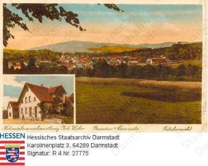 Brandau im Odenwald, Totalansicht / unten rechts: Ansicht der Kolonialwarenhandlung Joh. Weber