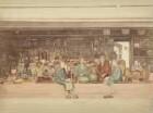 Fünf Männer vor einem japanischen Laden